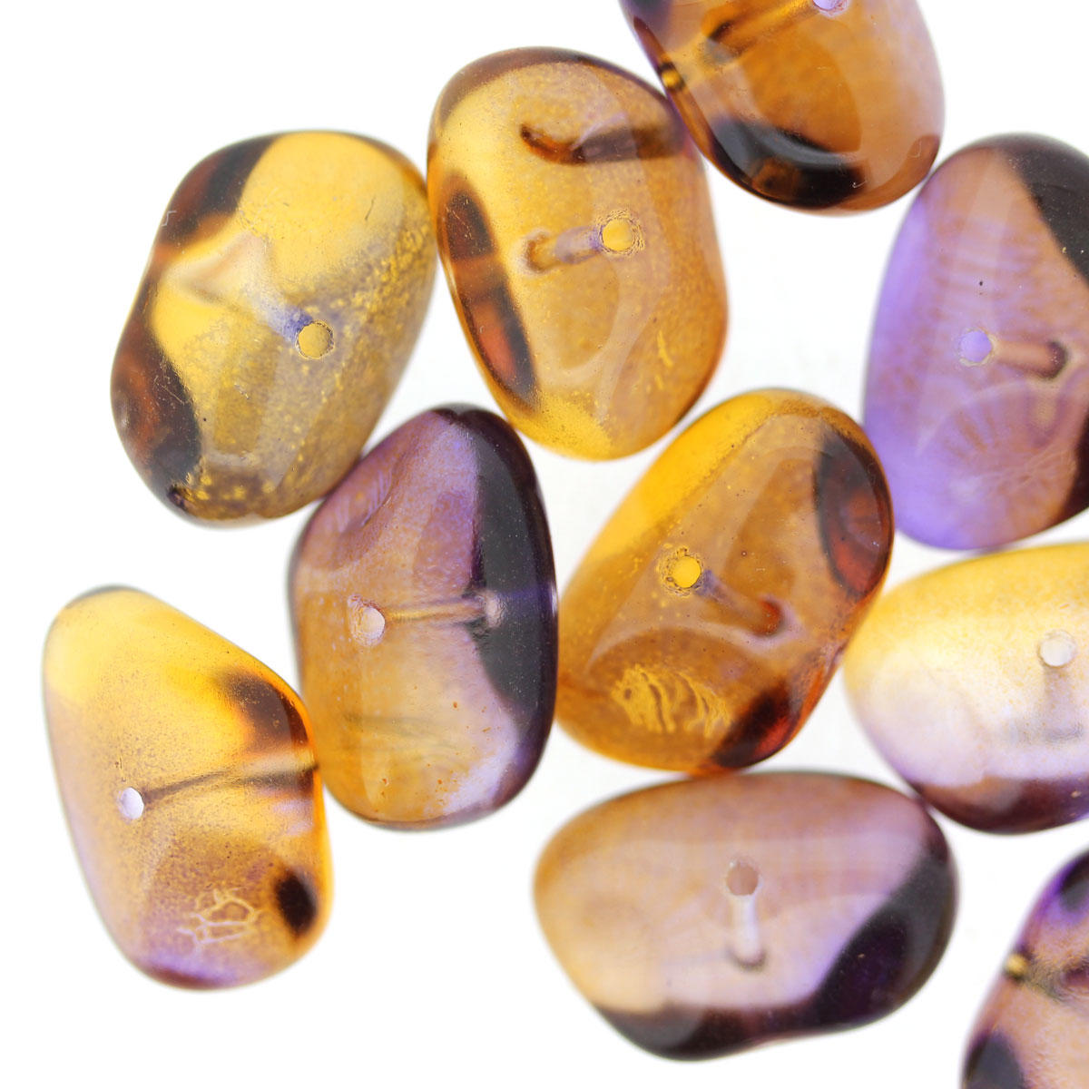 Purple Amber Glass Pebble Beads