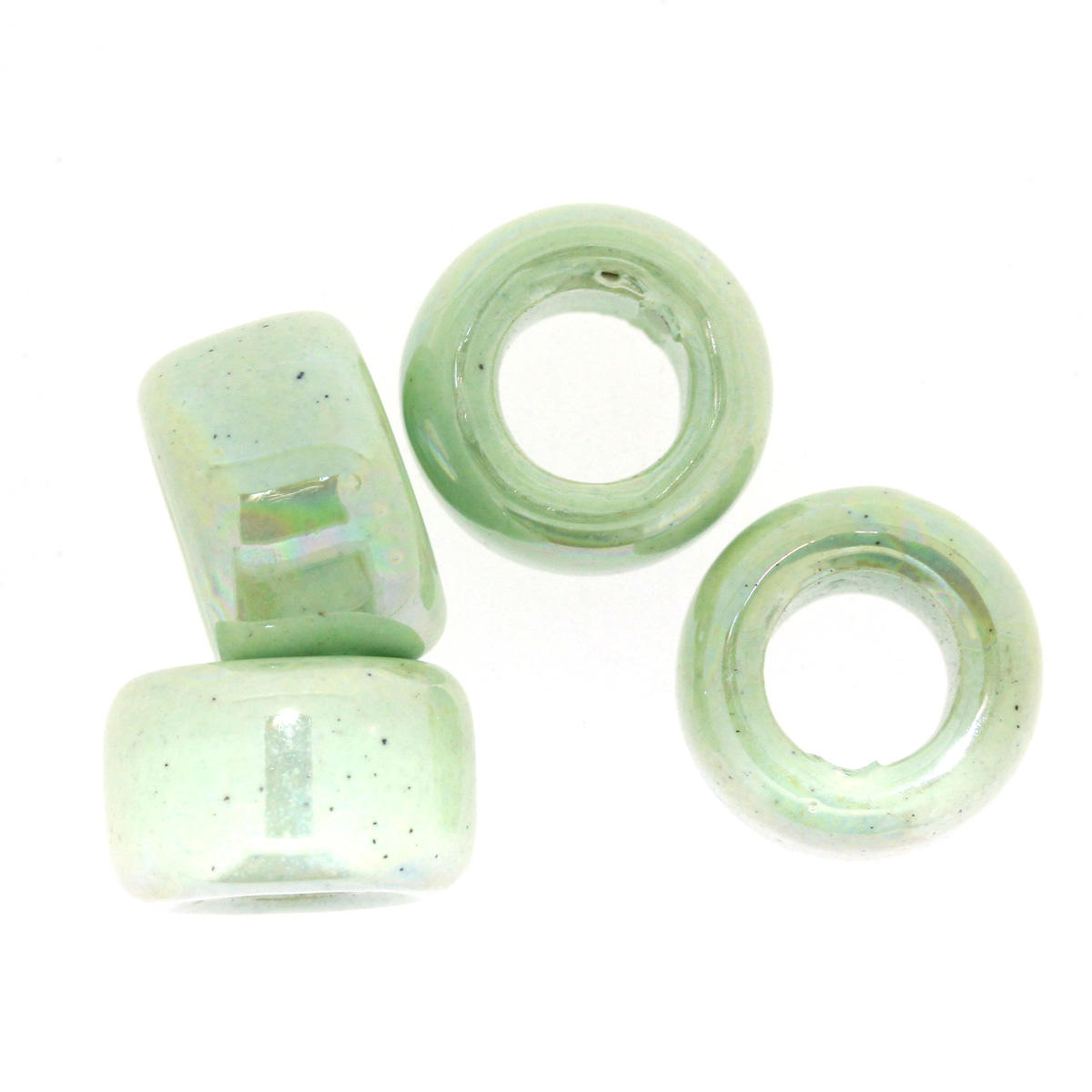 Light Green Ceramic Rondelle Bead