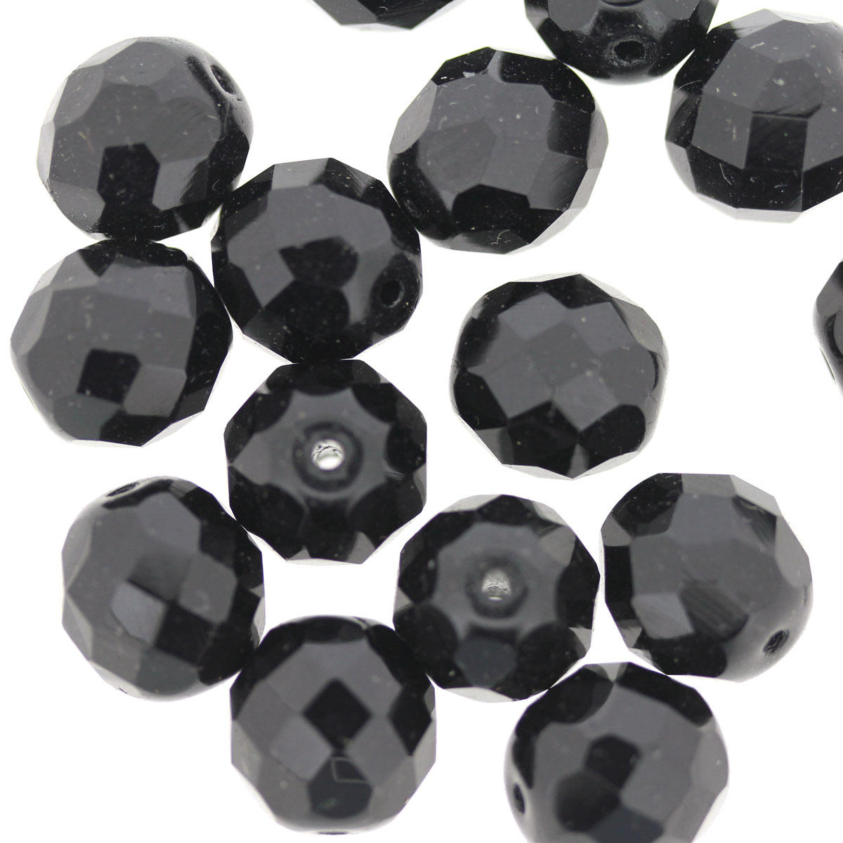 Black 12mm Faceted Glass Beads