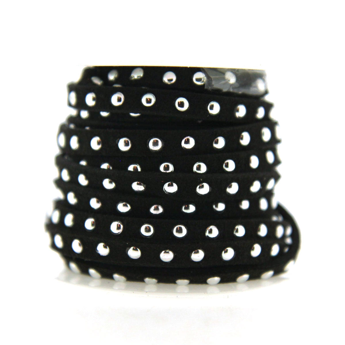 Black 5mm Faux Suede with Silver Rivets