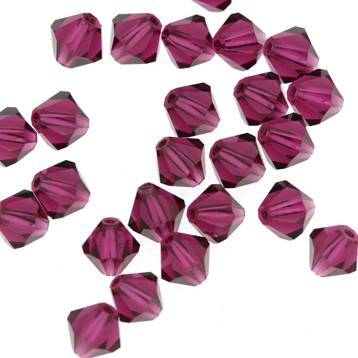 Fuchsia 6mm Crystal Bicone Bead
