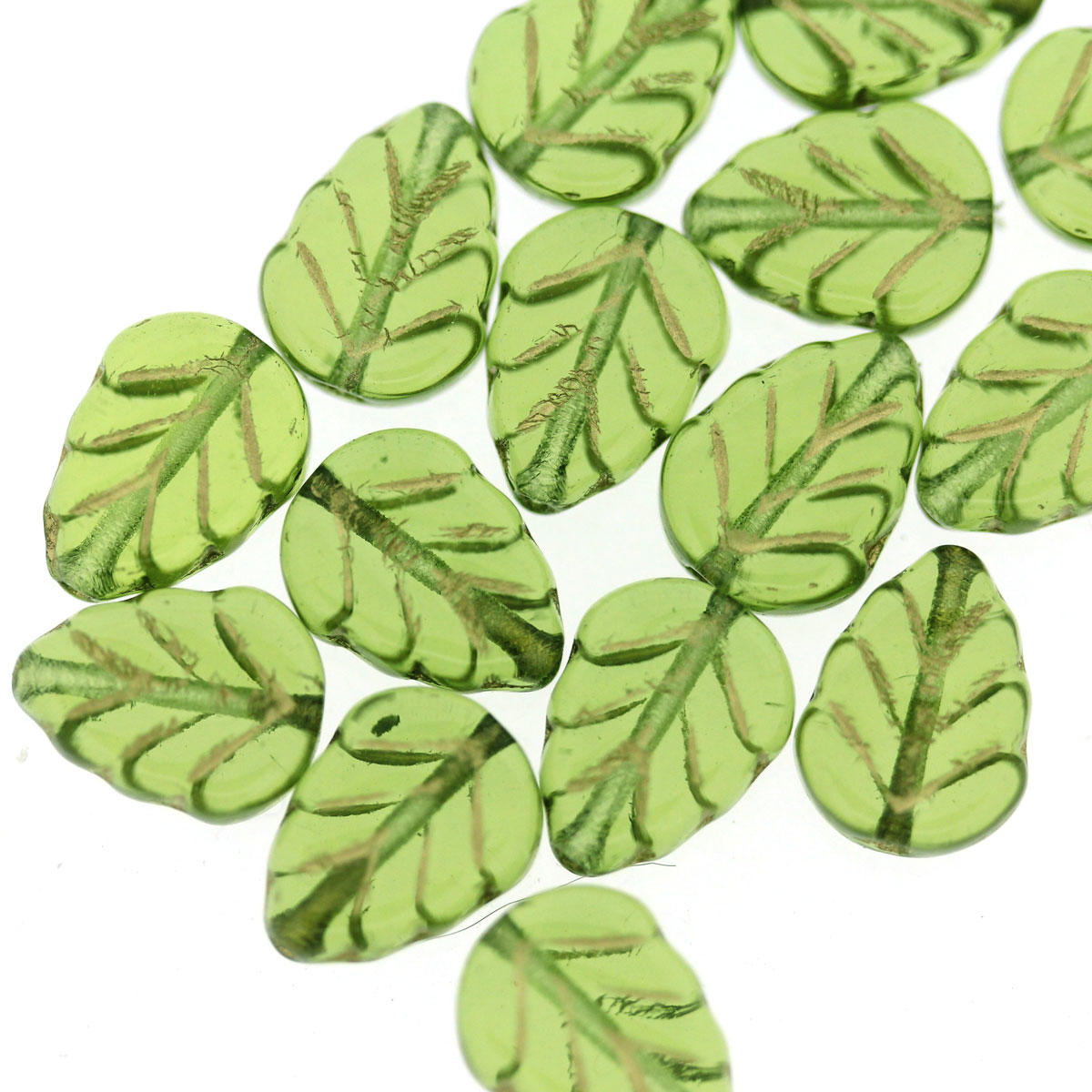 Green Glass Leaf Beads with Gold Inlay
