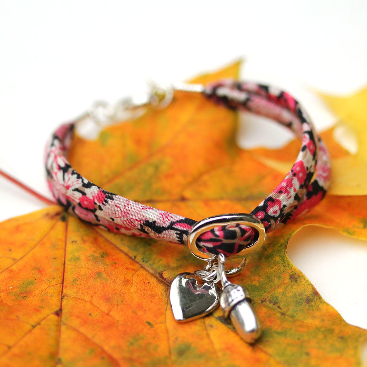 Liberty Fuchsia Bracelet with Acorn & Heart