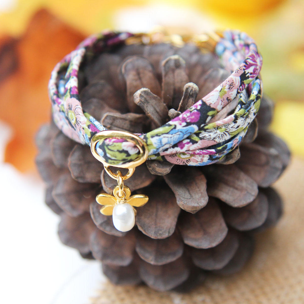 Liberty Purple Ribbon Bracelet with Gold Flower & Pearl