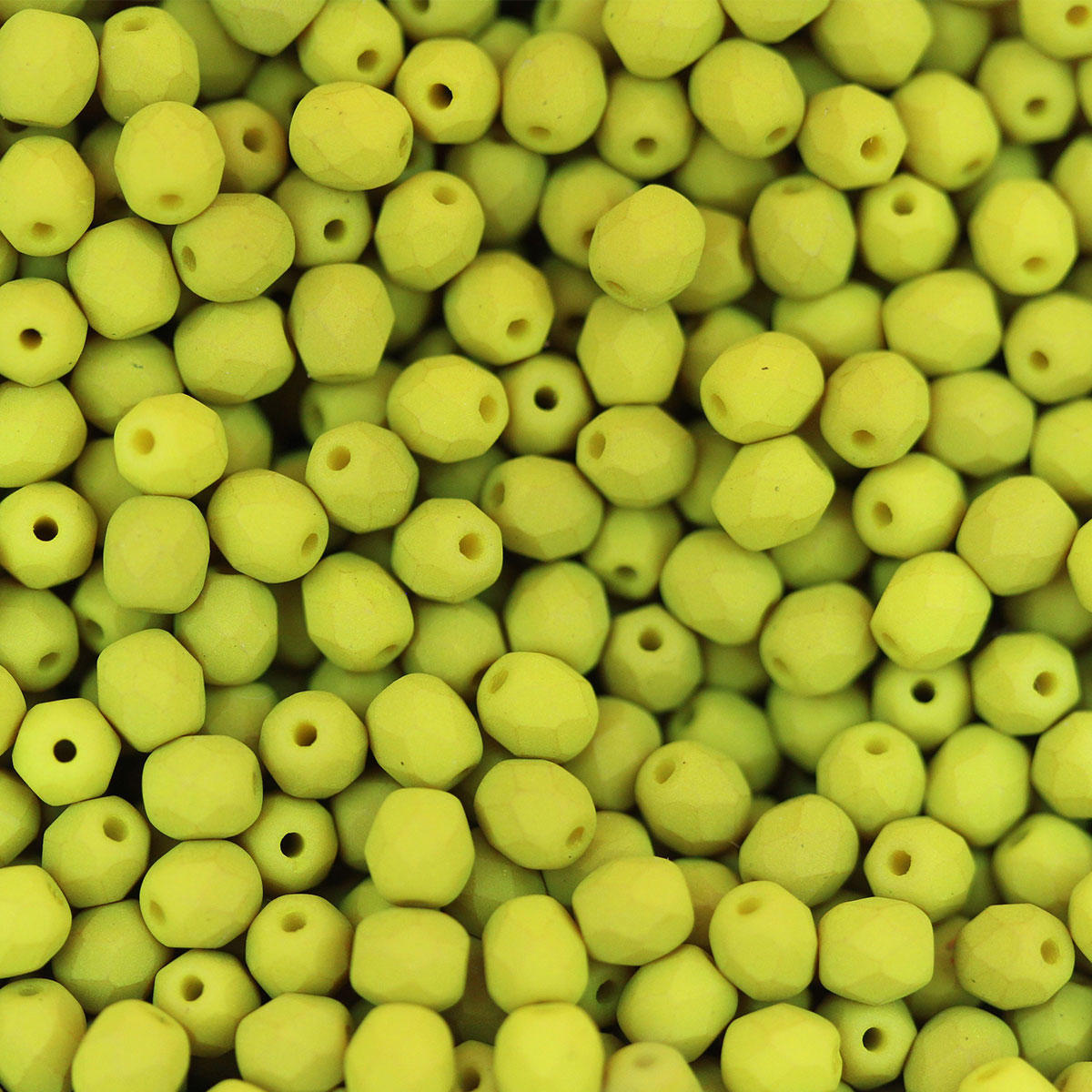 Saturated Chartreuse 4mm Fire Polished Glass Beads