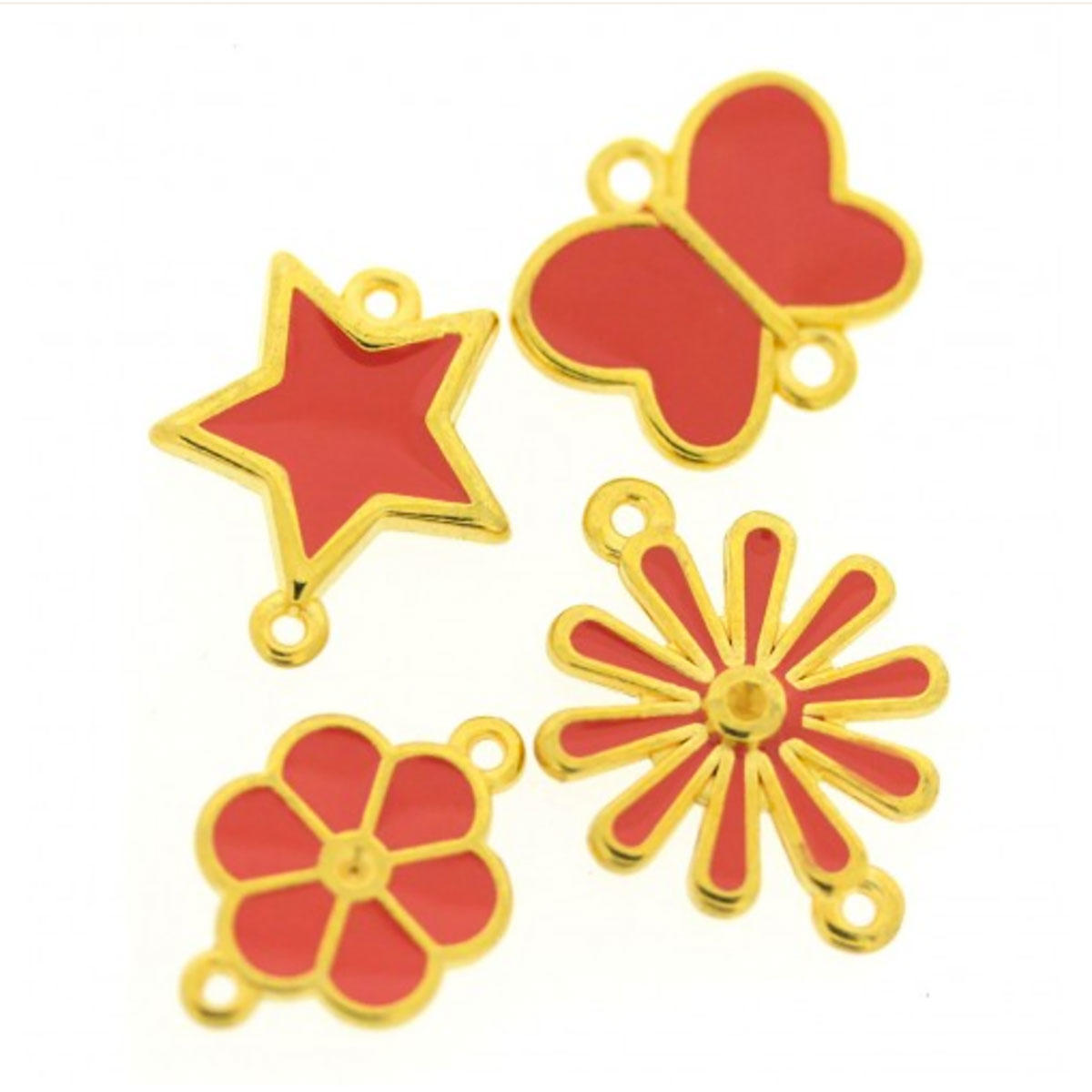 Coral Enamel Charm Set - 4 Pieces