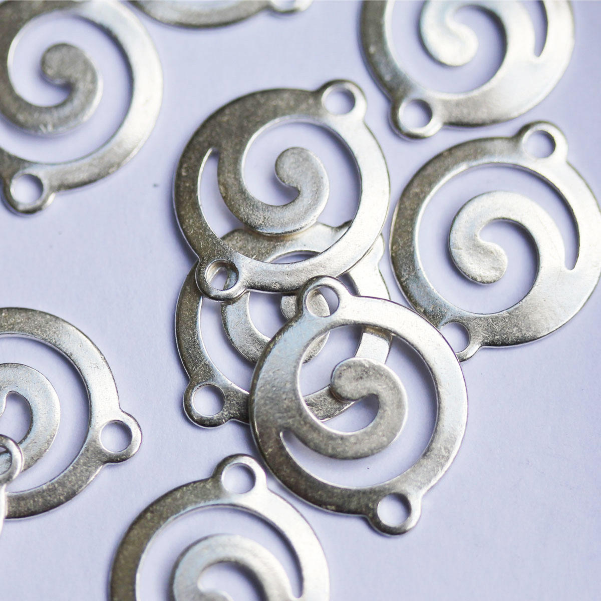 Silver Tribal Swirl 14mm Connector Charm