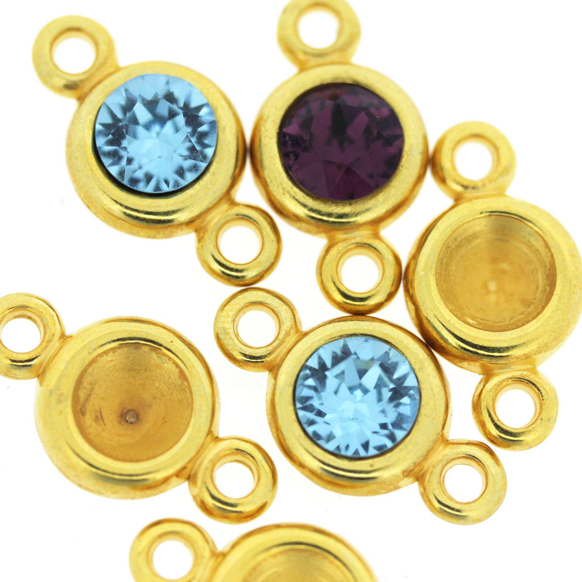 Gold Connector Cups for Swarovski Stones SS39