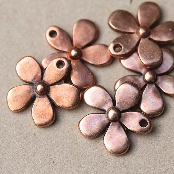 Antique Copper Metal Flowers