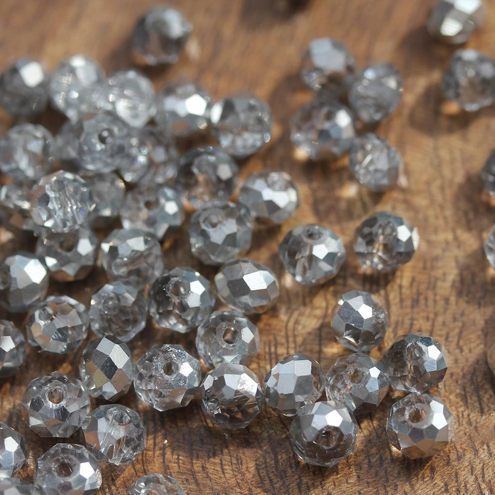 Light Grey Electroplated 6/4mm Crystals