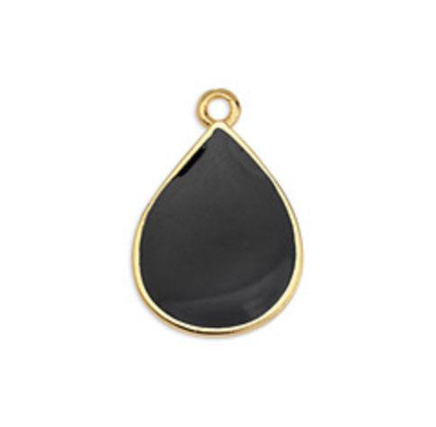 Enamel Black Gold Drop Charm
