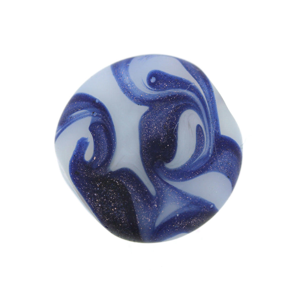 White Blue Sea Wave Glass Coin Bead