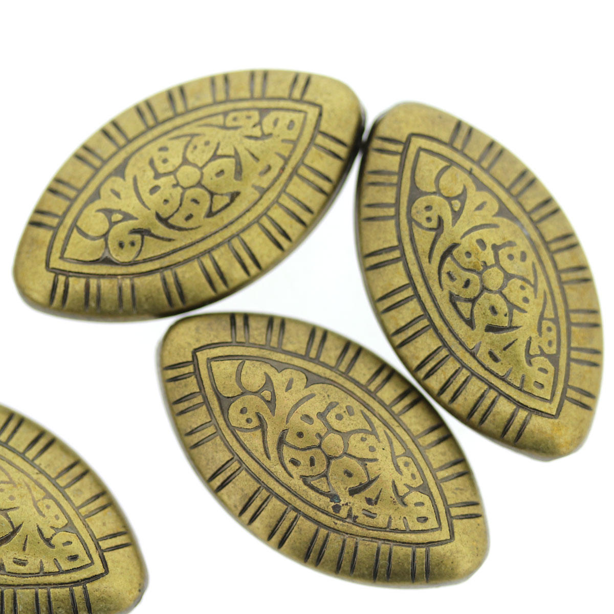 Antique Gold Patterned Oval Bead