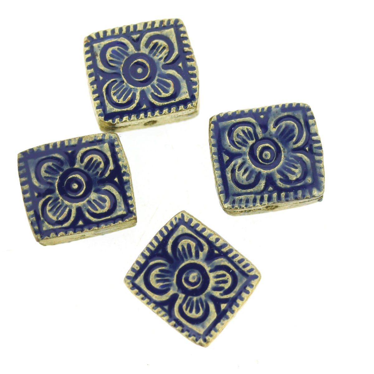 Blue Bollywood Metal Rectangle Bead