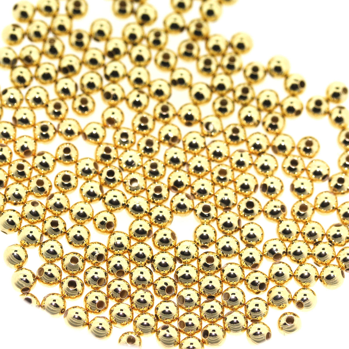 Gold Round 3mm Metal Beads