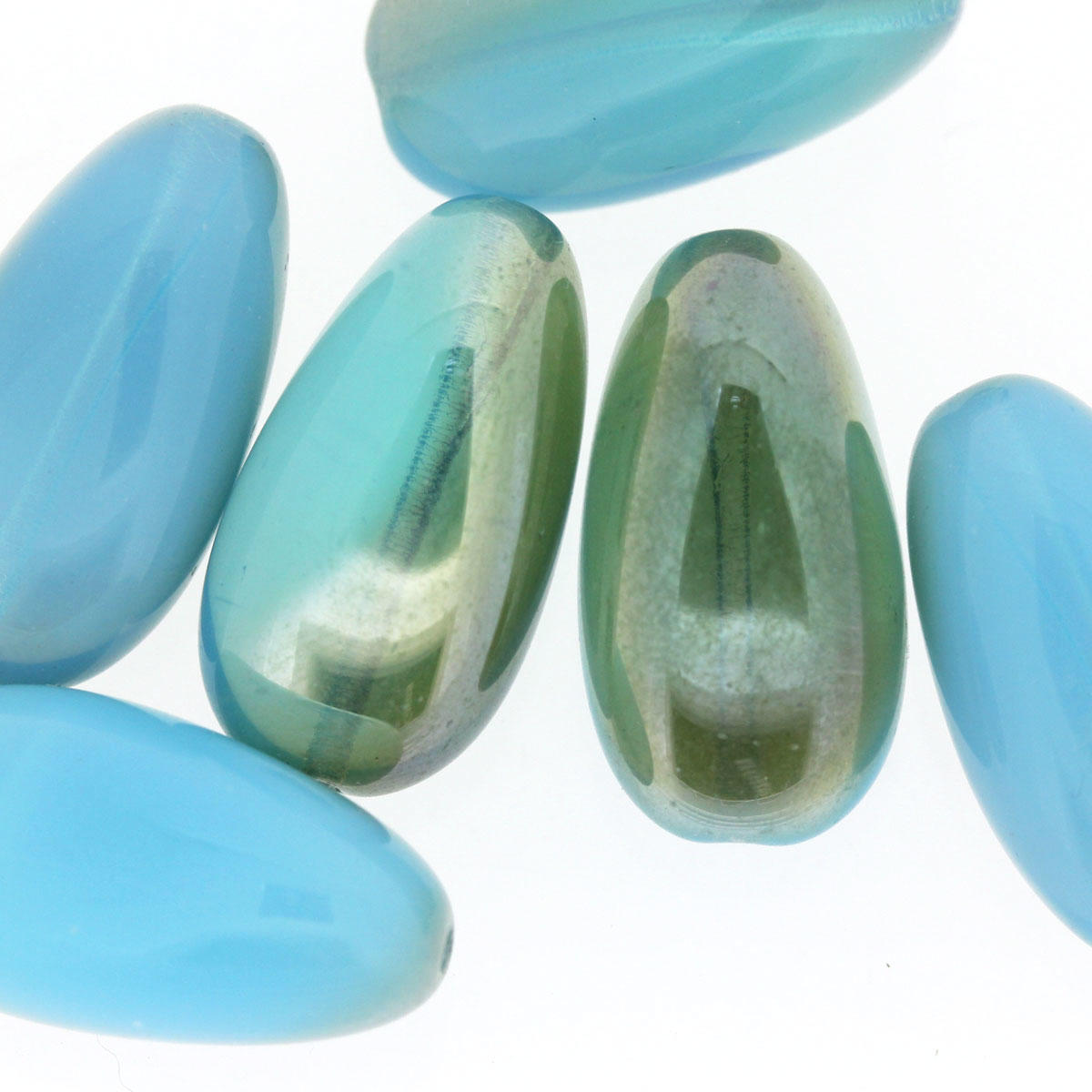 Aqua Milky Limited Edition Pinched Oblong Bead