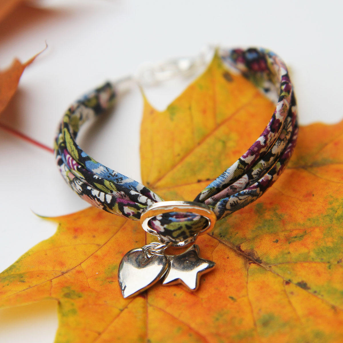 Liberty Purple Cotton Ribbon Bracelet with Silver Heart & Star