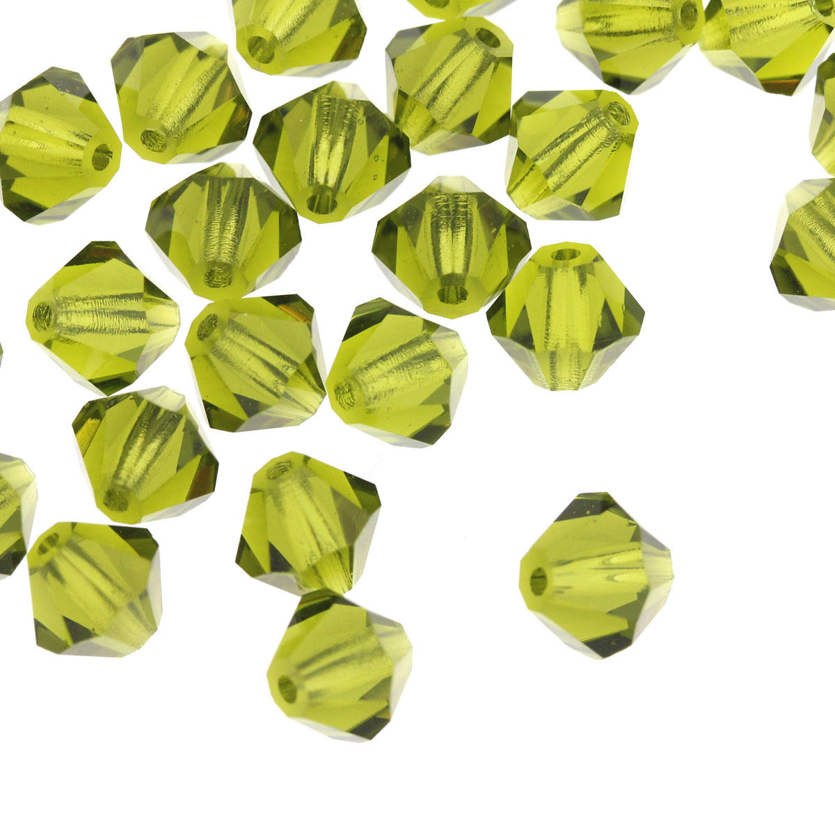 Olive Crystal 6mm Bicone Beads