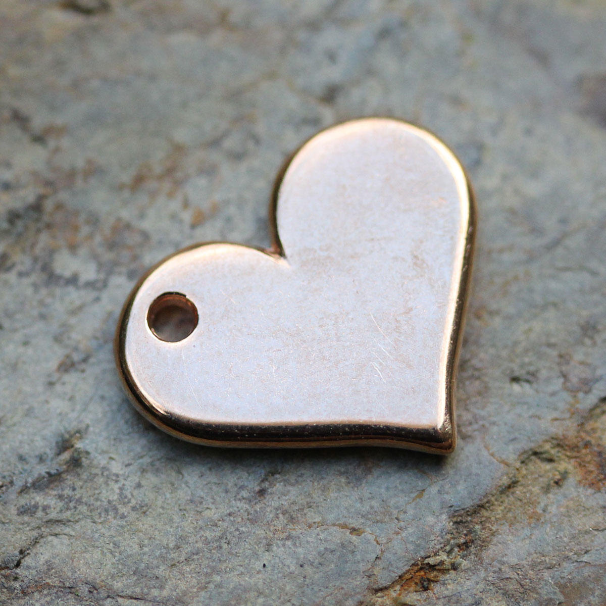 Rose Gold  Sideways Heart Charm