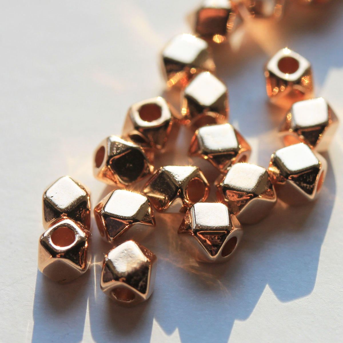 Rose Gold Polygon Metal Beads