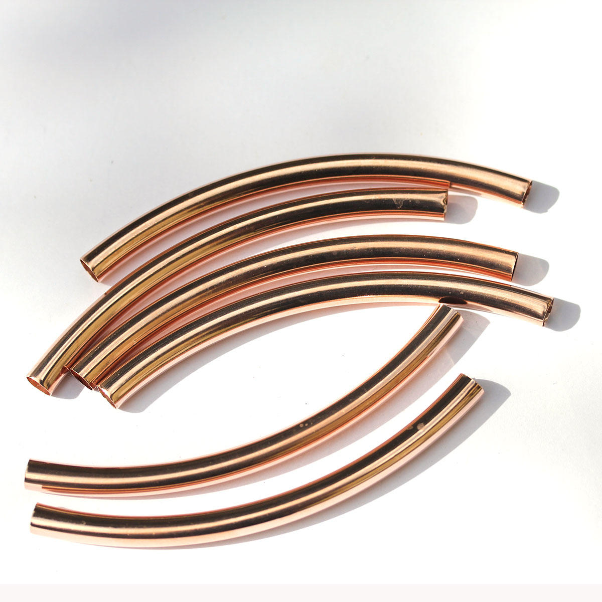 Rose Gold Long Tube Beads