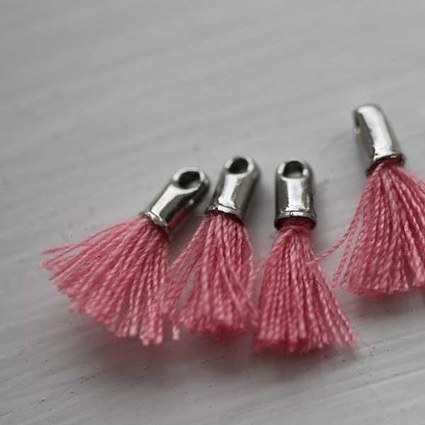 pink tiny tassel with silver