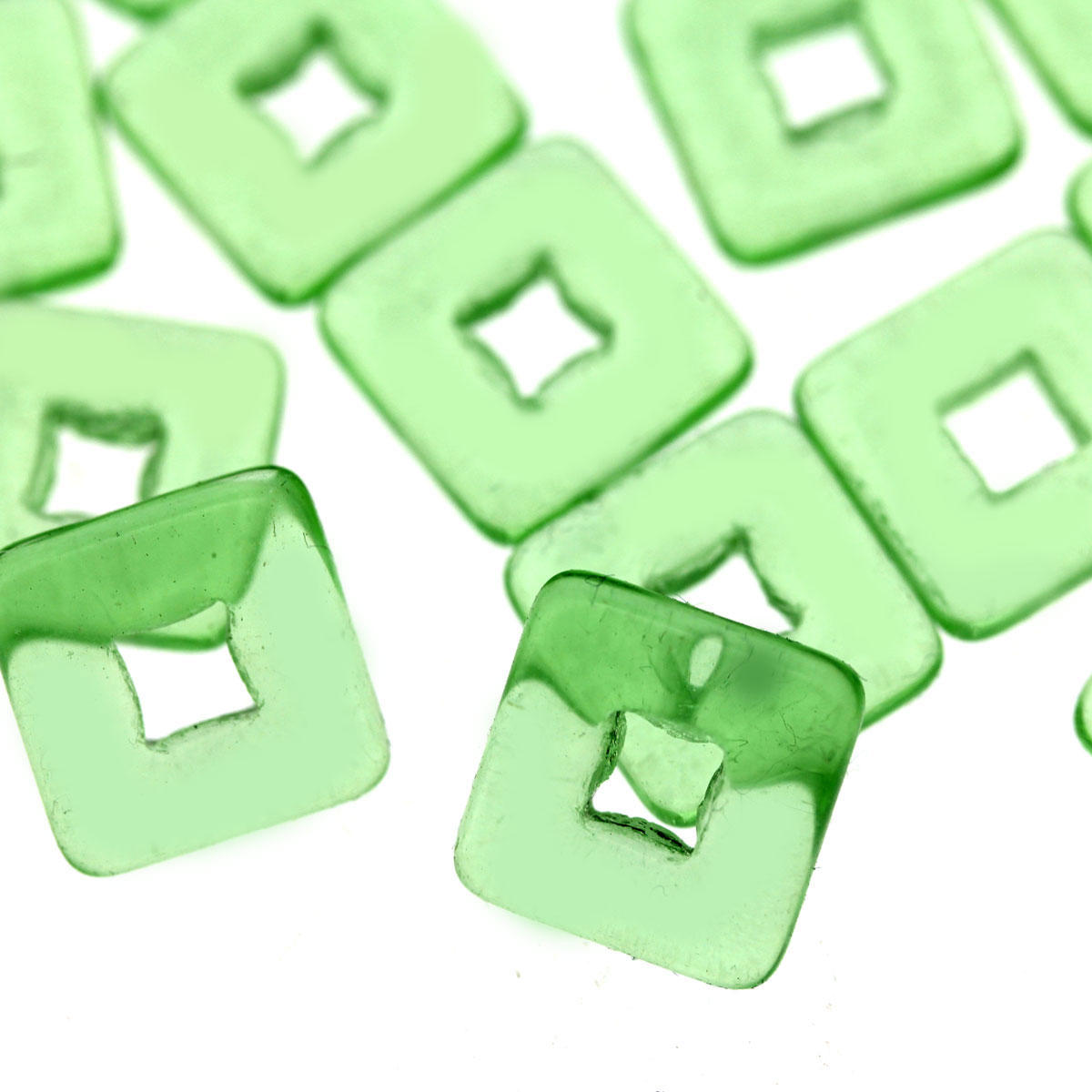 Green Flat Square Glass Bead - Code 53/06
