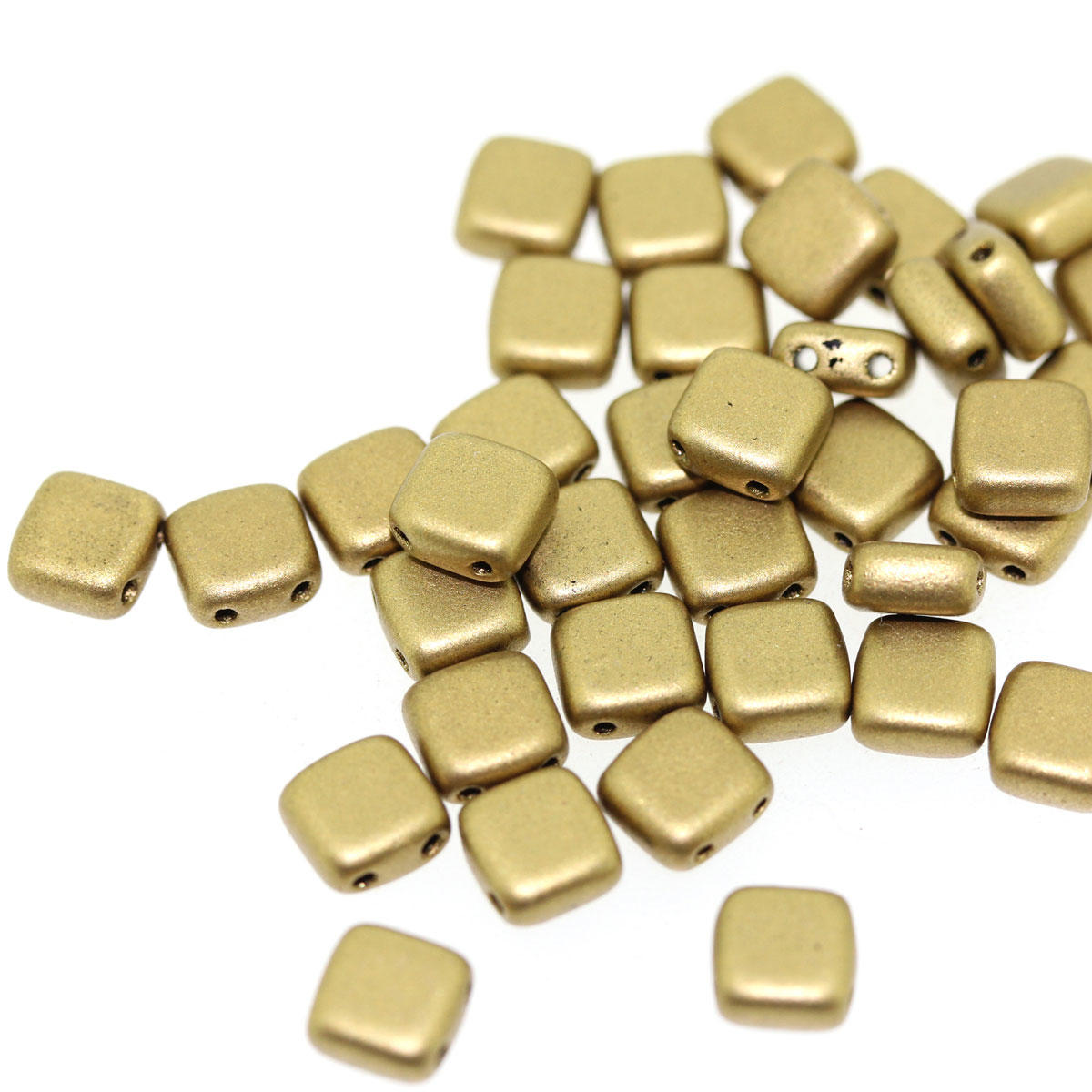 Gold Two Holed Flat Square Glass Bead