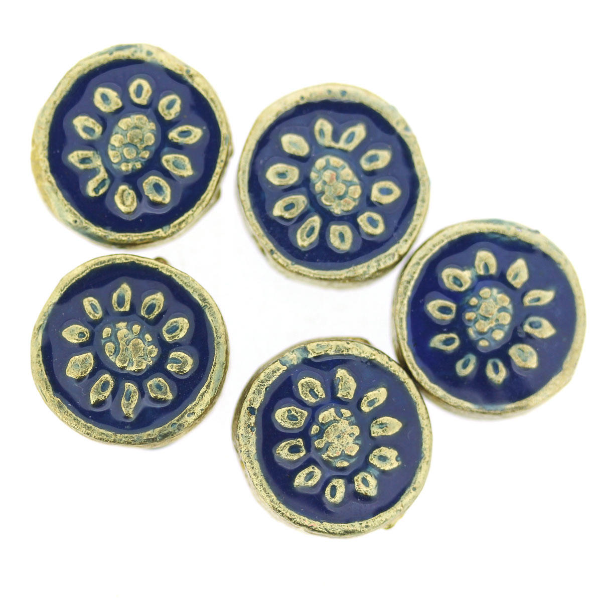 Blue Bollywood Circle Metal Bead