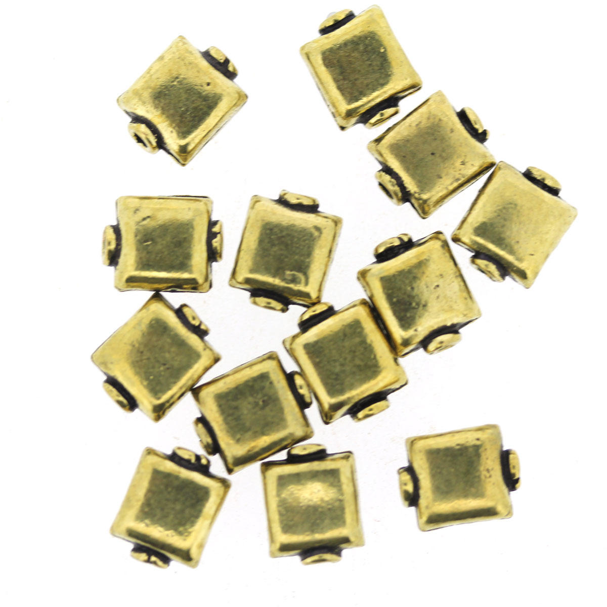 Gold Square Metal Beads