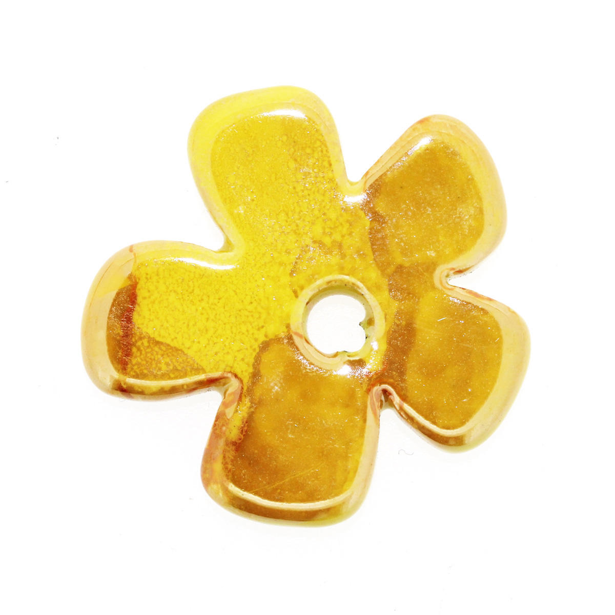 Yellow Large Ceramic Flower Bead