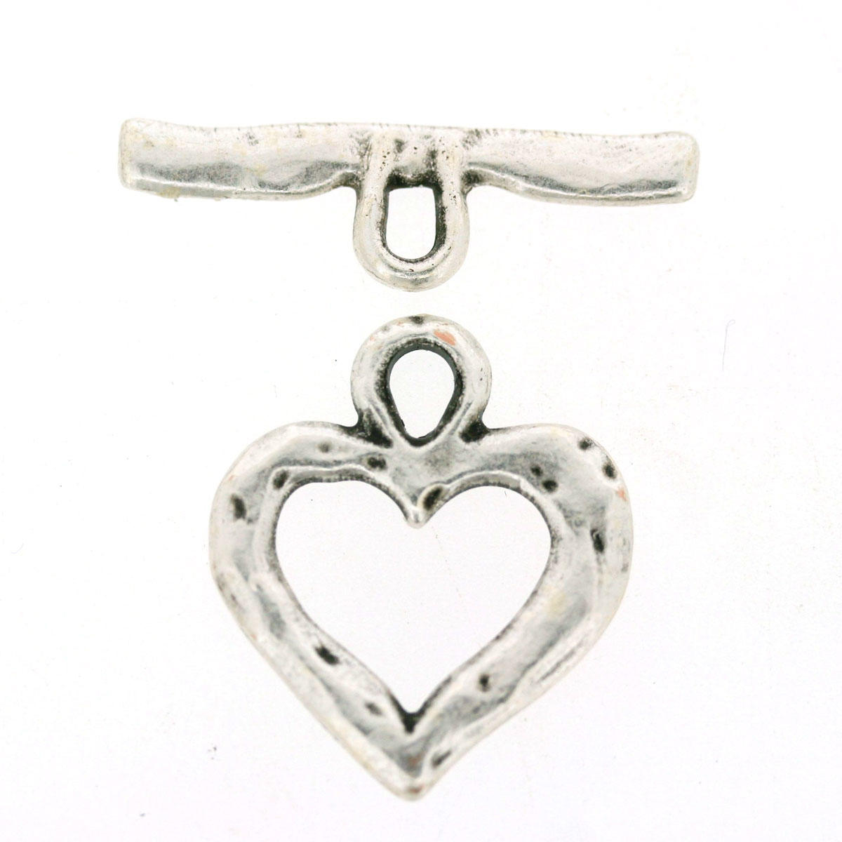 Antique Silver Heart Toggle Jewellery Component