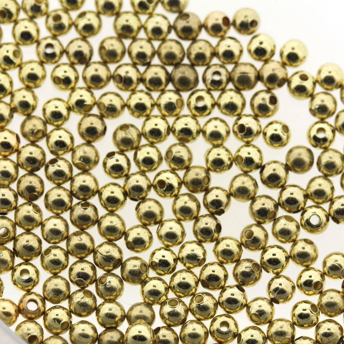 Light Gold 3mm Round Metal Beads