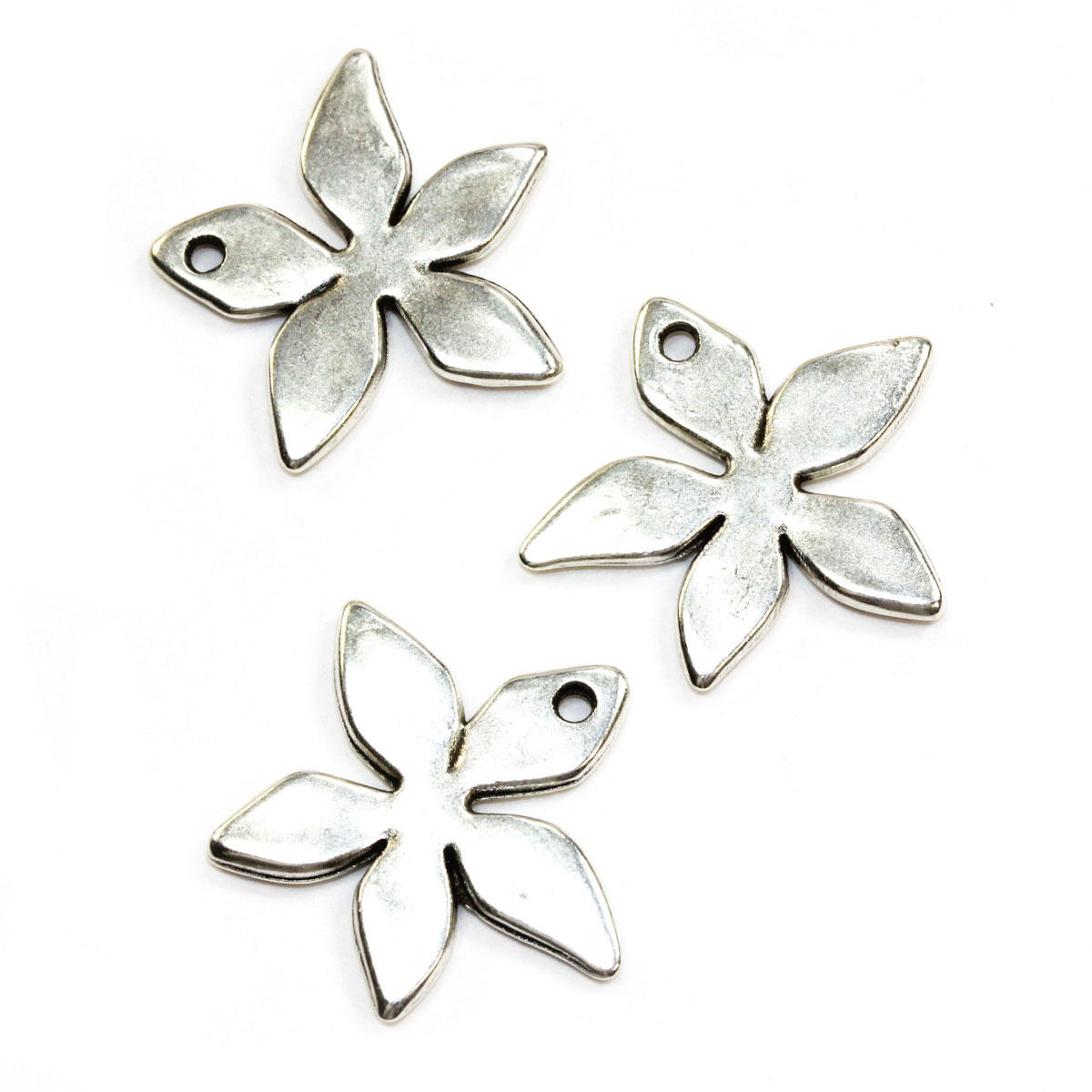 Silver Star Flower Charm Bead