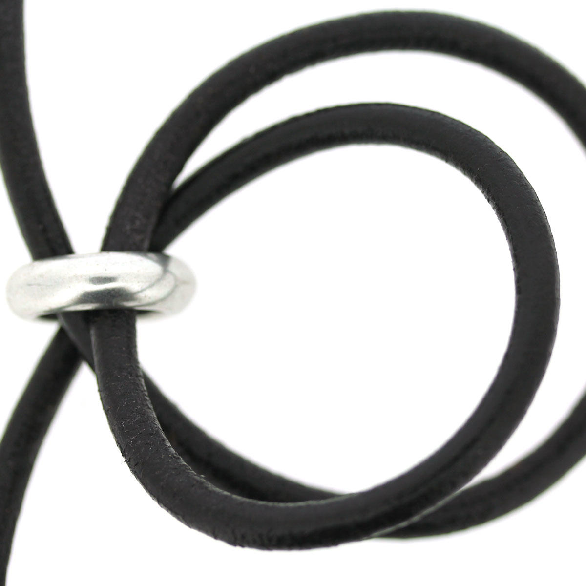 Black 5mm Round Bracelet Leather
