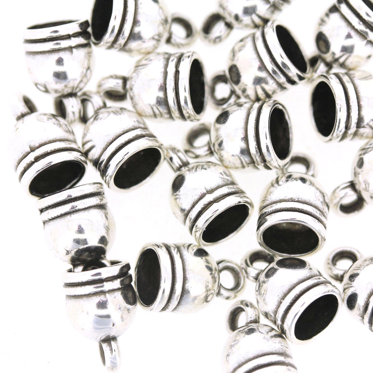 Antique Silver Ringed Bead Cap