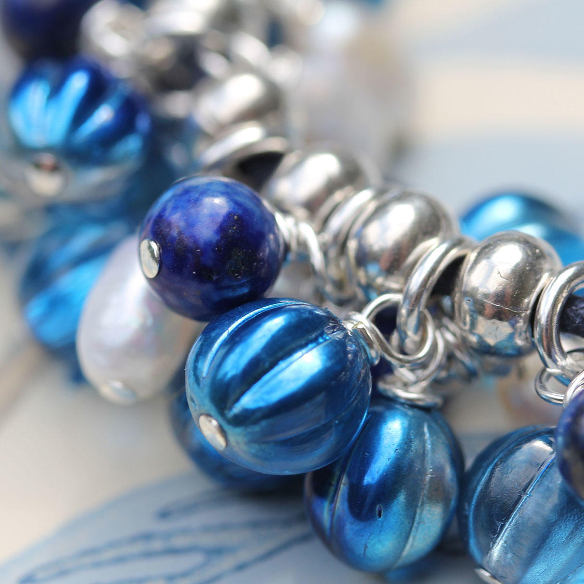 Capri Blue Czech Glass Melon Beads