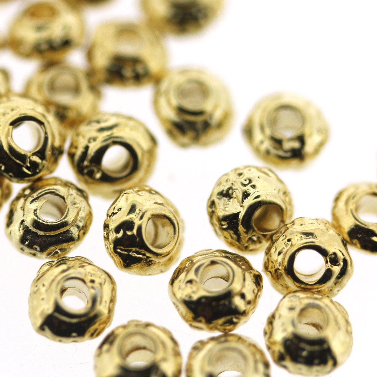Gold Patterned Small Cushion Bead