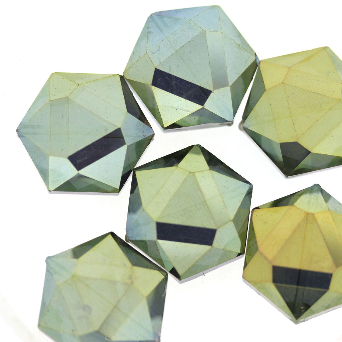 Khaki Green Large Electroplated Glass Hexagon Beads