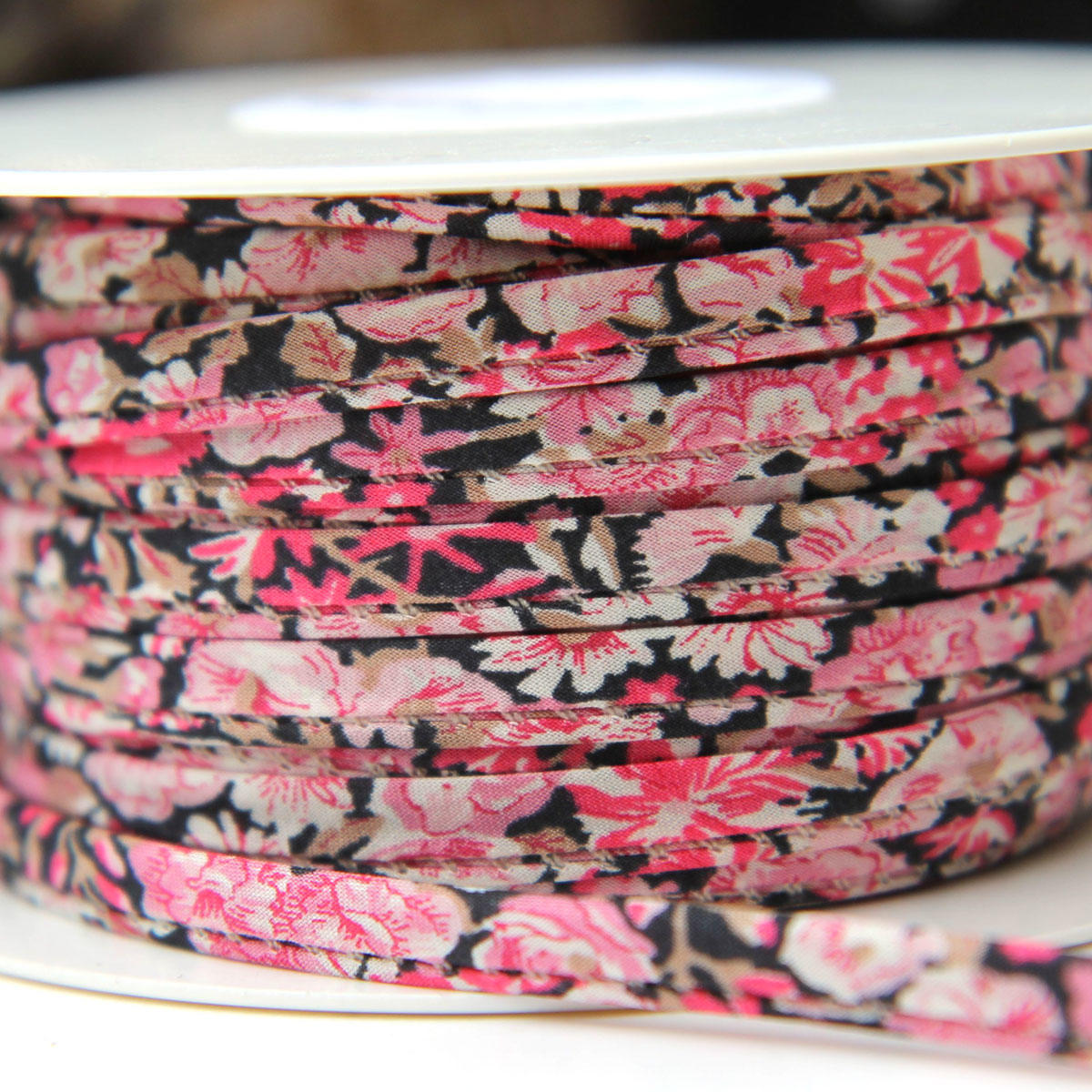 Liberty Fuchsia Stitched Cotton Ribbon