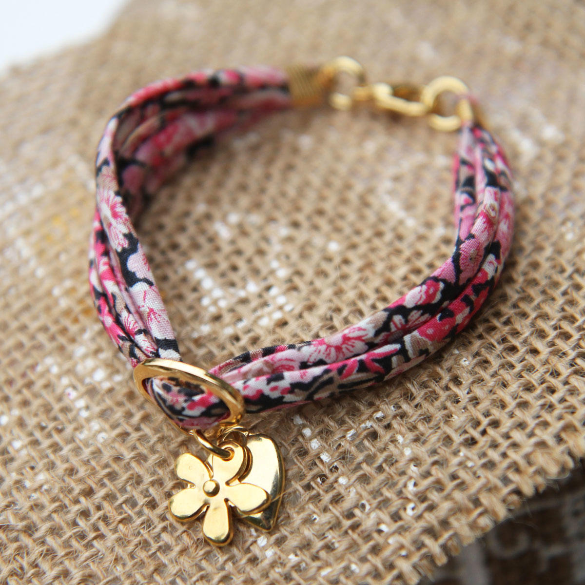 Liberty Ribbon Fuchsia Bracelet with Gold Heart & Flower