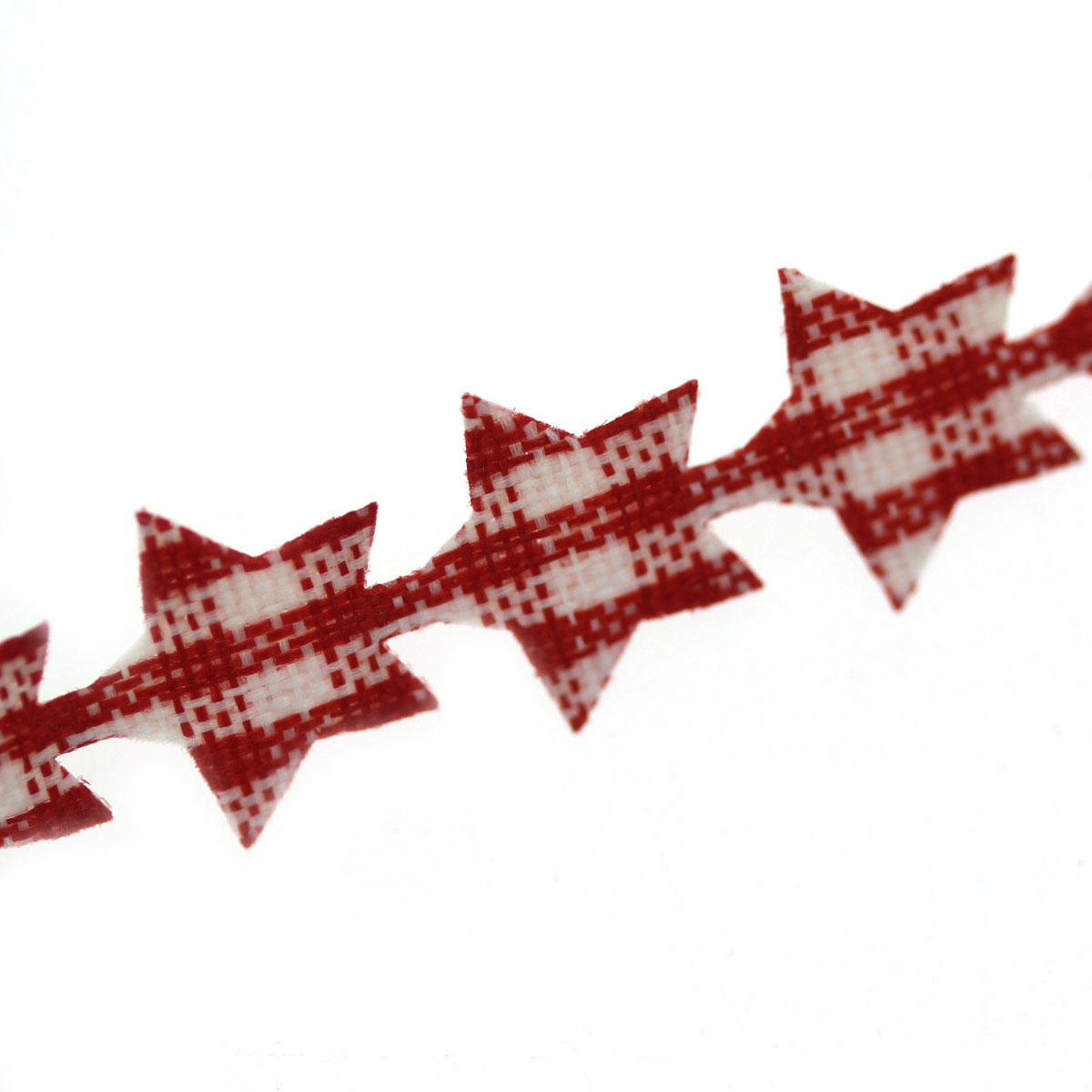 Red Star Gingham Garland - Small Stars