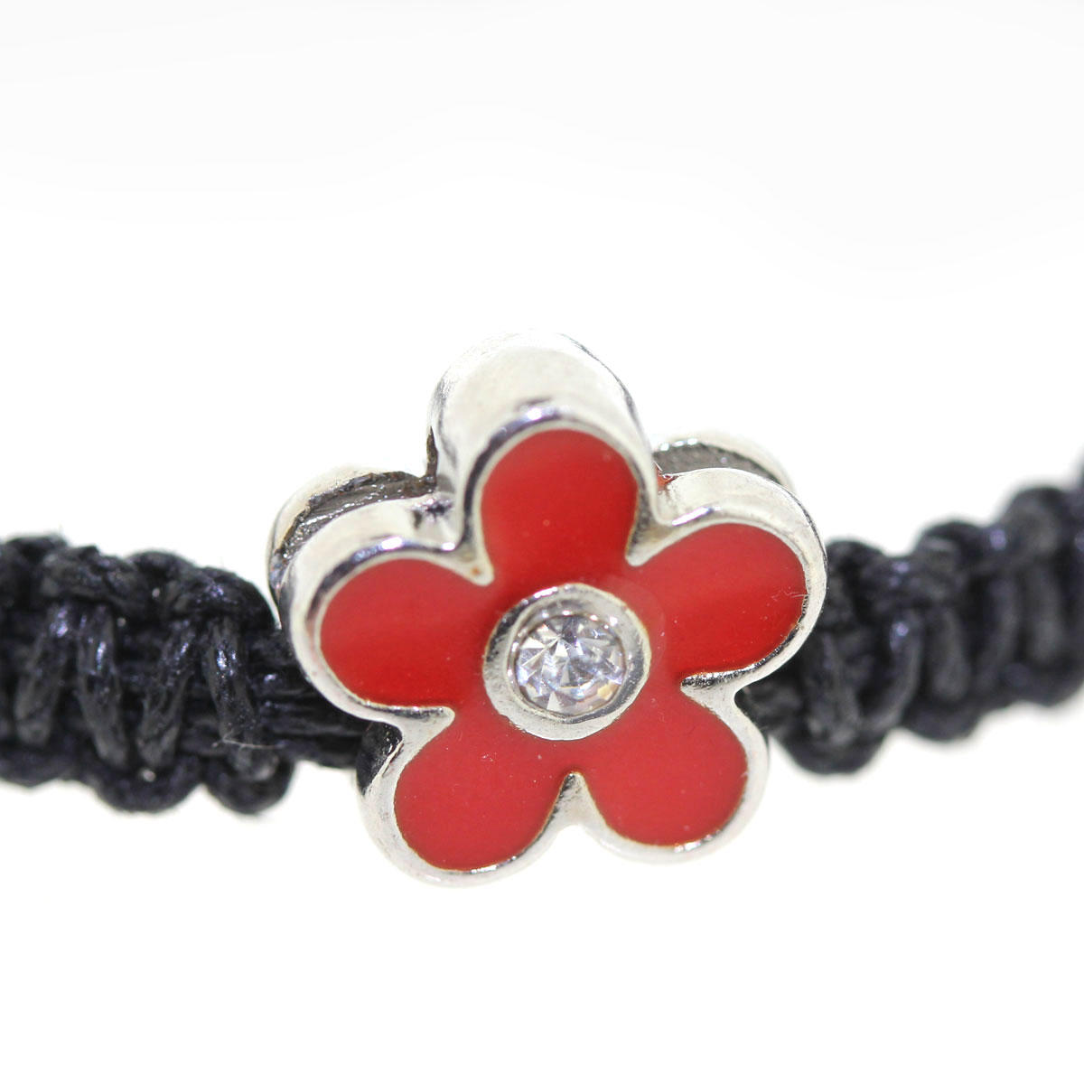Red Enamel Flower with Crystal Bead
