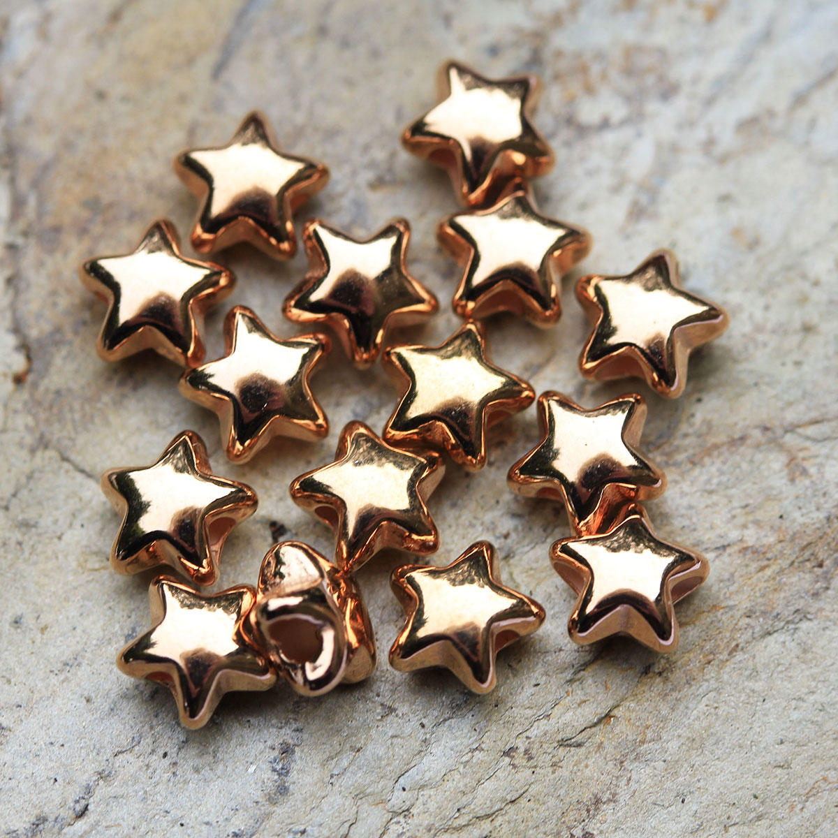 Rose Gold Small Star Metal Beads