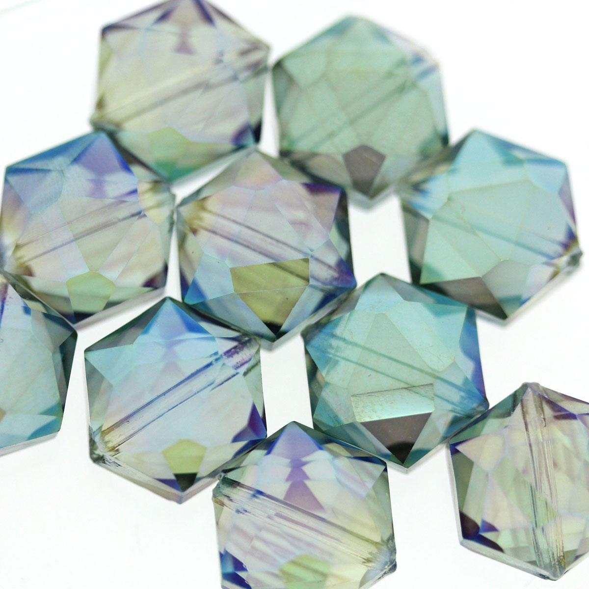 Sea Green AB Hexagon Glass Beads