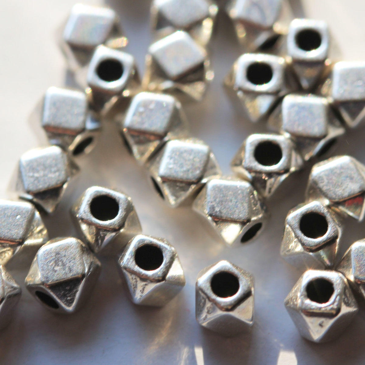 Silver Polygon Metal Beads
