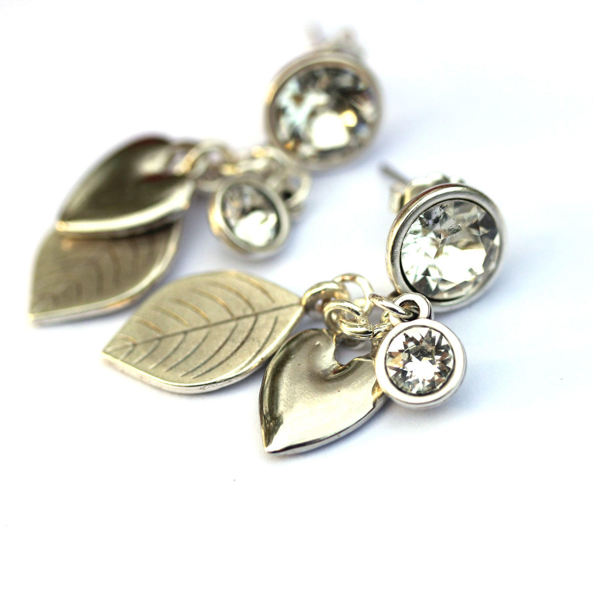 Swarovski Earrings with Leaves & Hearts