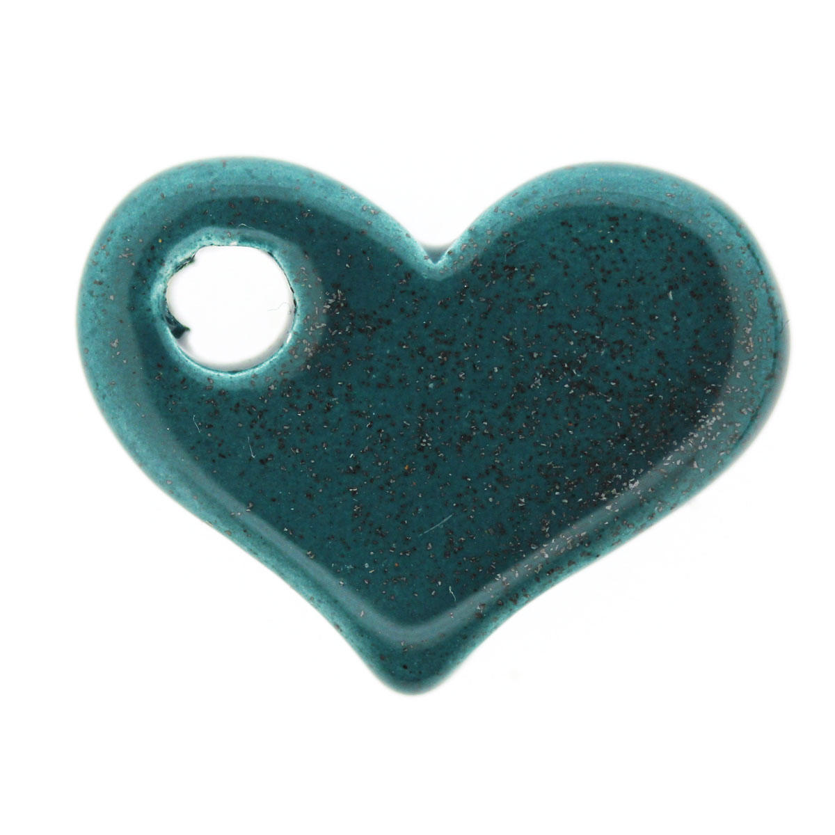 Teal Sparkle Side-ways Ceramic Heart Bead
