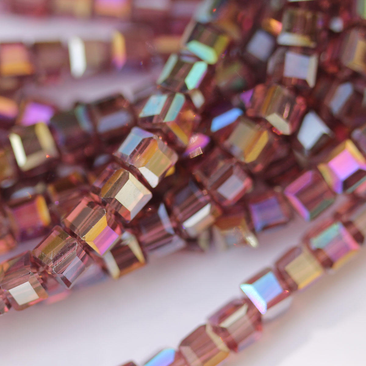 Amethyst Faceted Square Beads