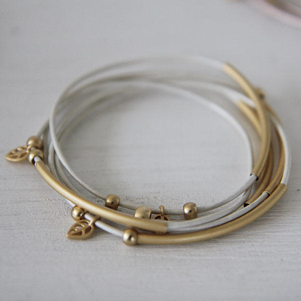 Soft gold tube bracelets